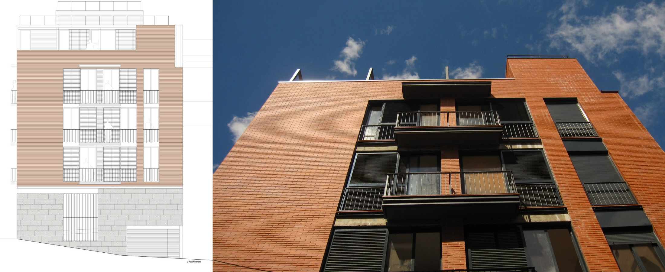Fachada Paseo de la Dirección, situada en Madrid. Un proyecto del estudio de arquitectura FH2L Arquitectos