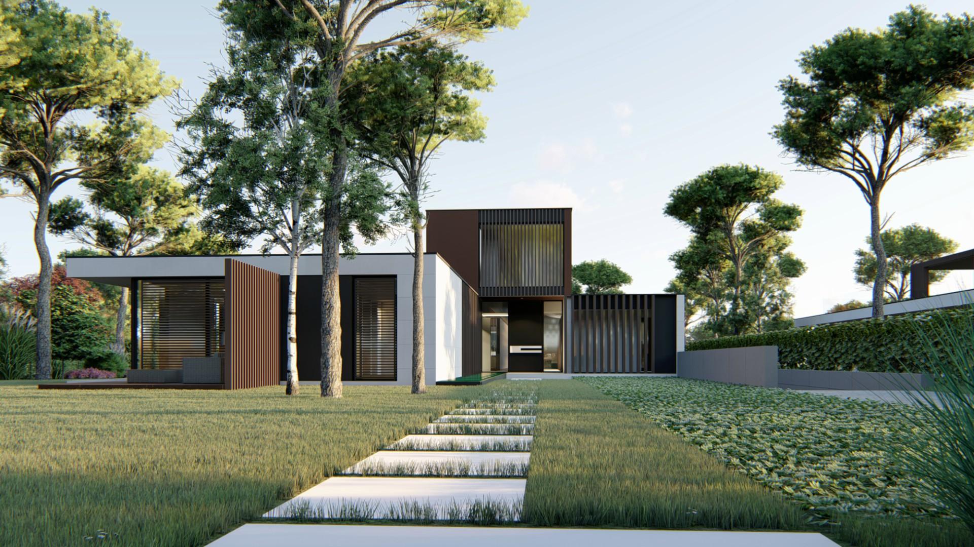 Acceso a la entrada principal. 3 Viviendas Unifamiliares en Encinas, Boadilla del Monte, Madrid.Un proyecto del estudio de arquitectura FH2L Arquitectos.
