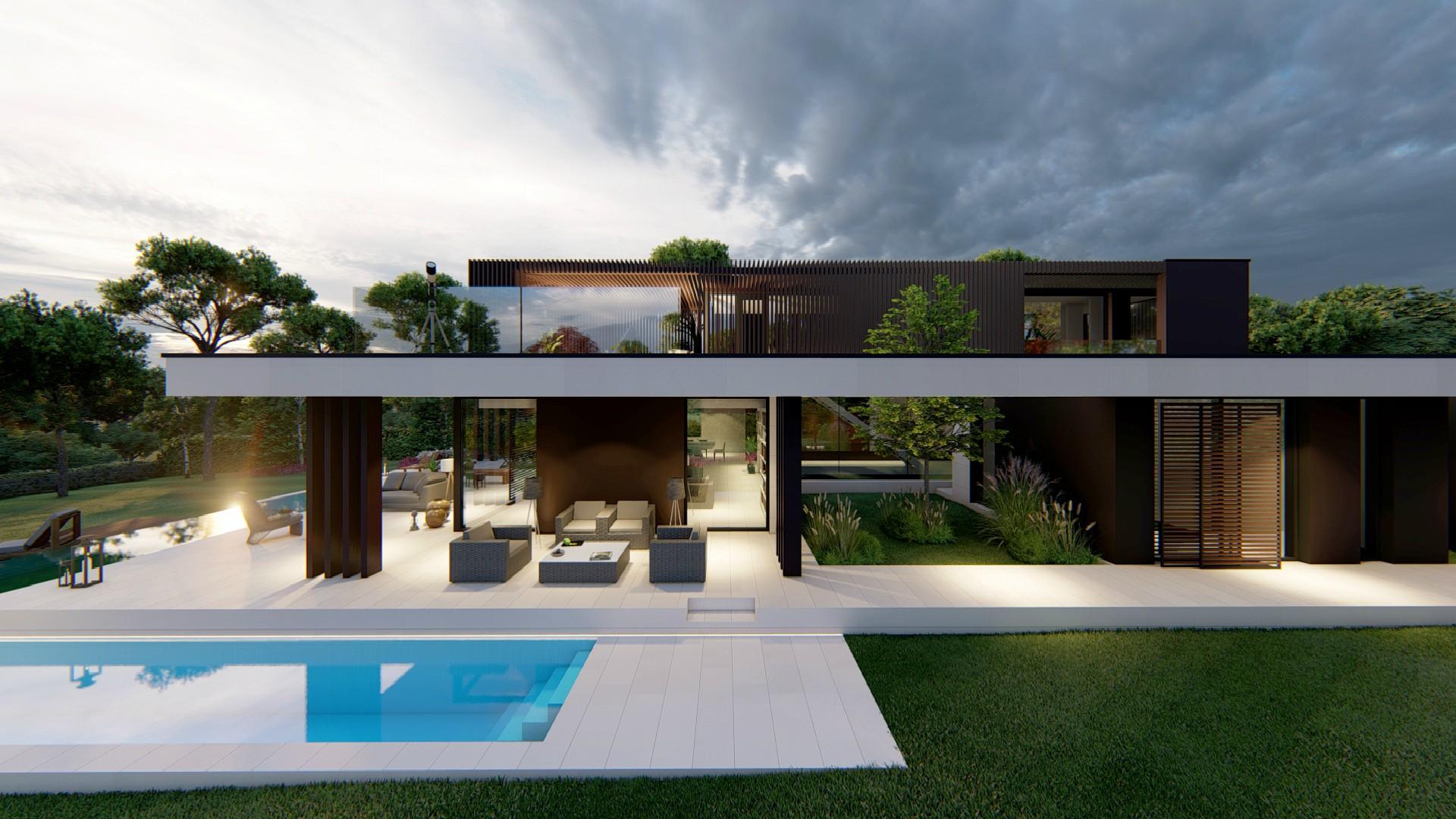 Vista exterior, fachada, piscina y jardín. 3 Viviendas Unifamiliares en Encinas, Boadilla del Monte, Madrid.Un proyecto del estudio de arquitectura FH2L Arquitectos.