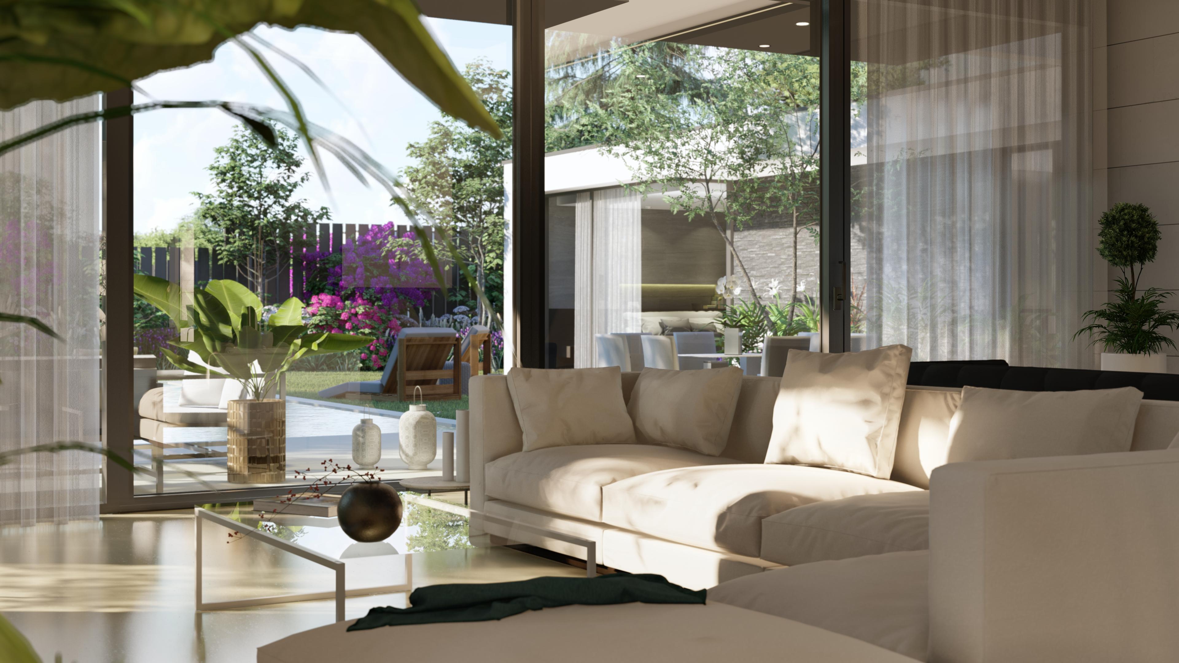 Salón con vistas al jardín y piscina. QHOMES9 es un proyecto del estudio de arquitectura FH2L Arquitectos. Conformado por 9 viviendas unifamiliares.