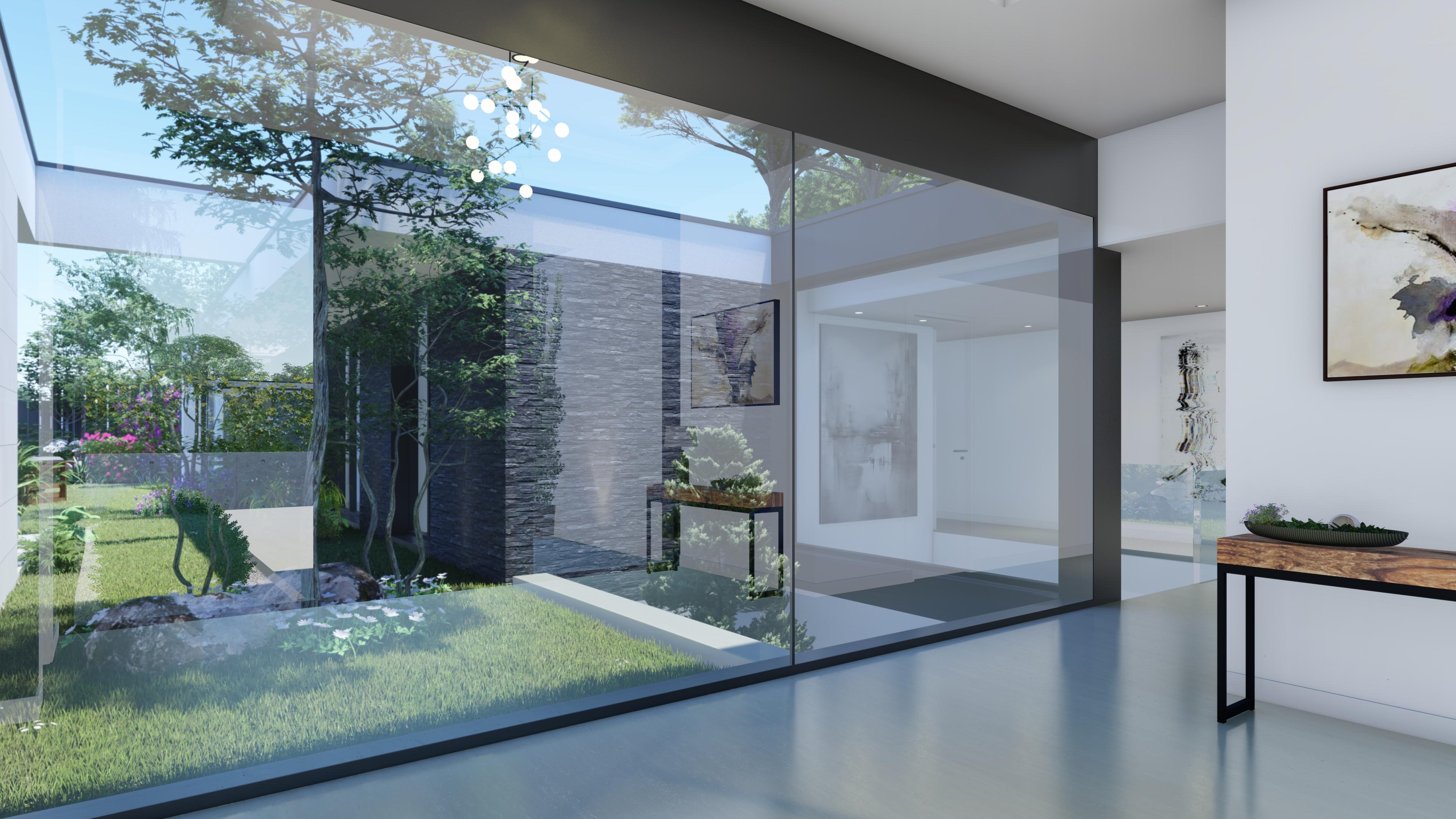 Interior con vistas al jardín. QHOMES9 es un proyecto del estudio de arquitectura FH2L Arquitectos. Conformado por 9 viviendas unifamiliares.