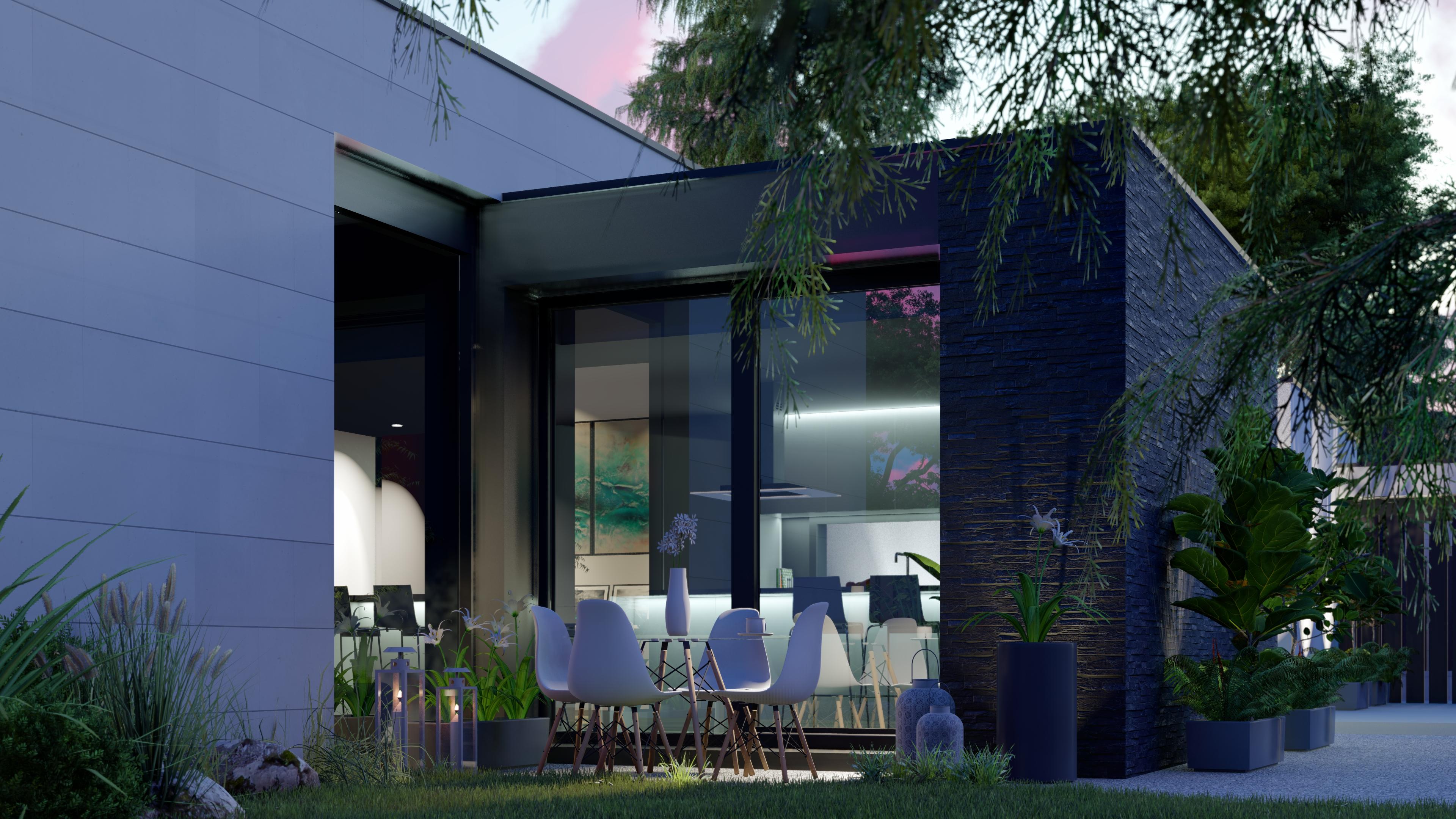 Extrerior, terraza, cocina. QHOMES9 es un proyecto del estudio de arquitectura FH2L Arquitectos. Conformado por 9 viviendas unifamiliares.