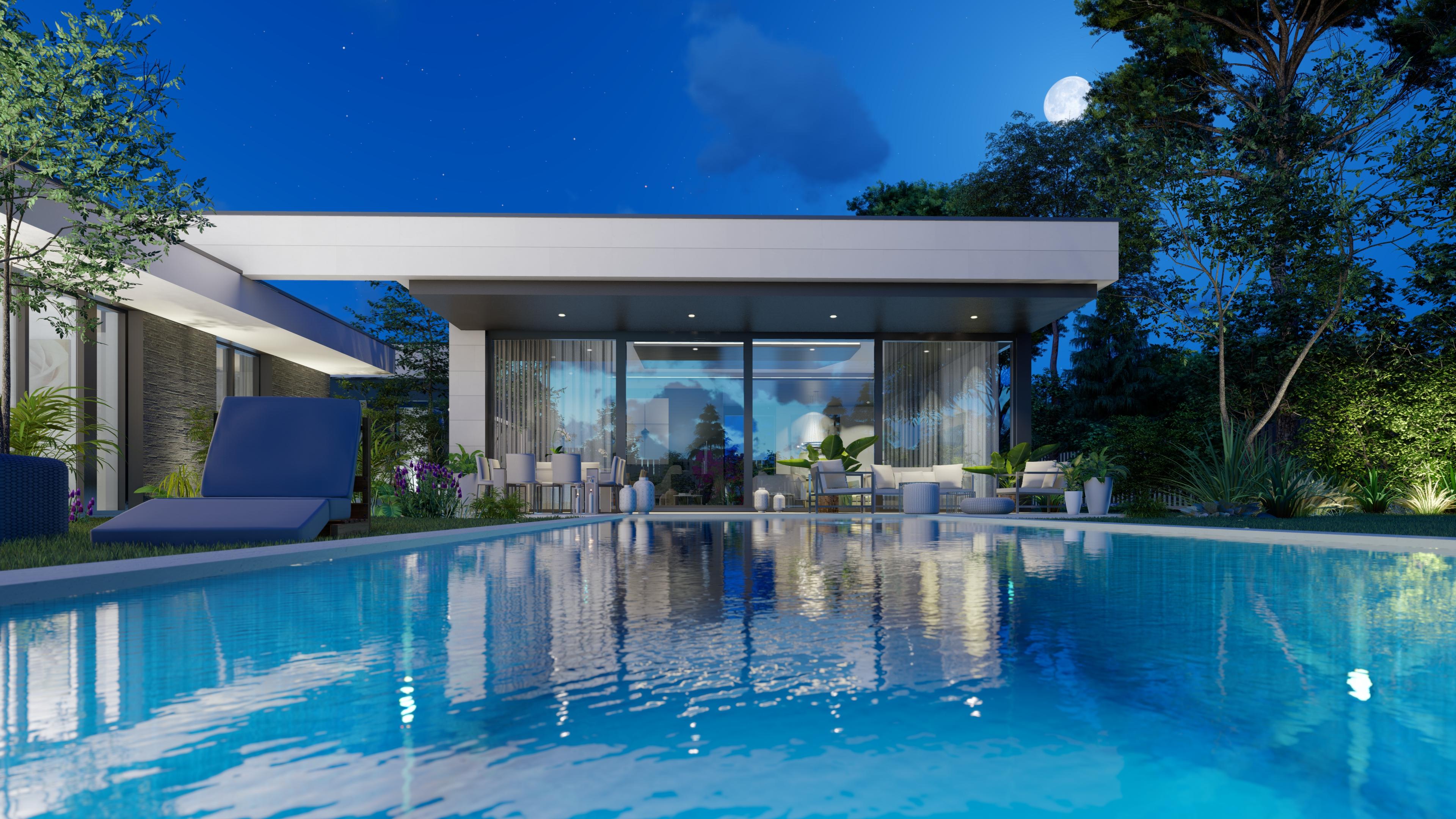 Terraza y piscina. QHOMES9 es un proyecto del estudio de arquitectura FH2L Arquitectos. Conformado por 9 viviendas unifamiliares.