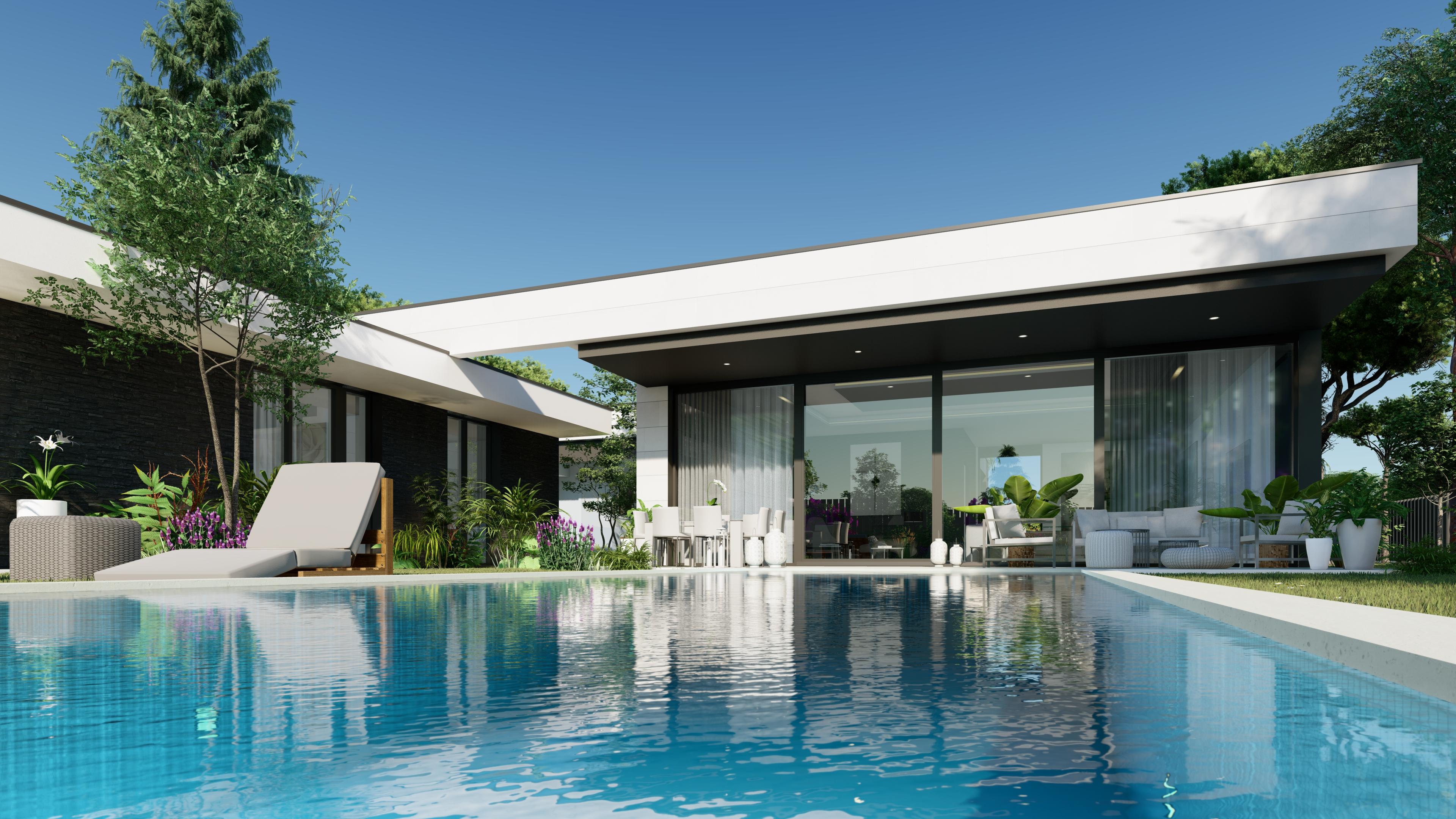 exterior y psicina. QHOMES9 es un proyecto del estudio de arquitectura FH2L Arquitectos. Conformado por 9 viviendas unifamiliares .