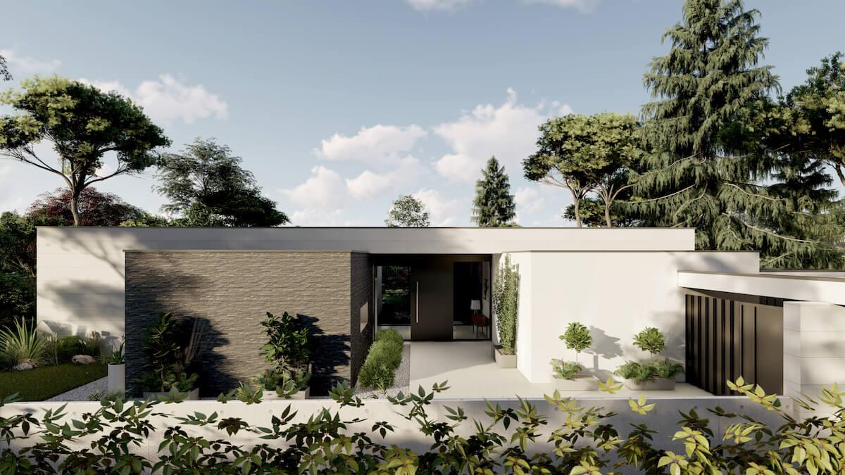 Acceso principla a la vivienda. QHOMES9 es un proyecto del estudio de arquitectura FH2L Arquitectos. Conformado por 9 viviendas unifamiliares.