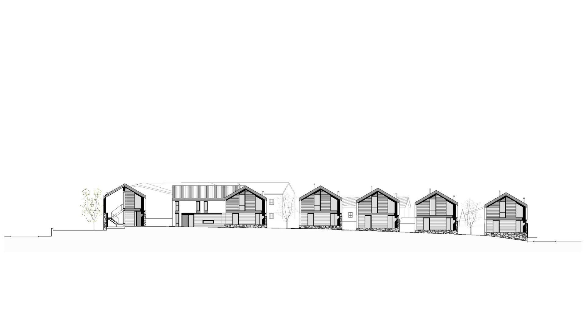 Alzado, 9 viviendas unifamiliares aisladas + rehabilitación de una vivienda unifamiliar. Un proyecto del estudio de arquitectura FH2L Arquitectos en Navacerrada, Madrid