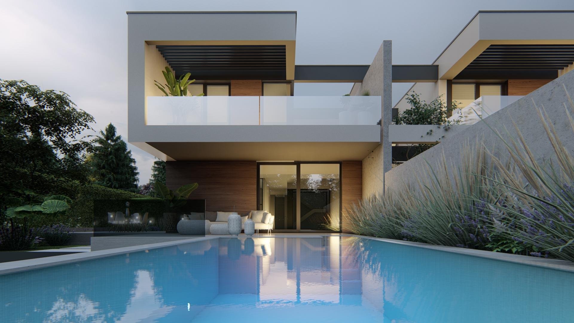 Proyecto del estudio de arquitectura FH2L Arquitectos de 2 viviendas pareadas en Valdemarín, Madrid.