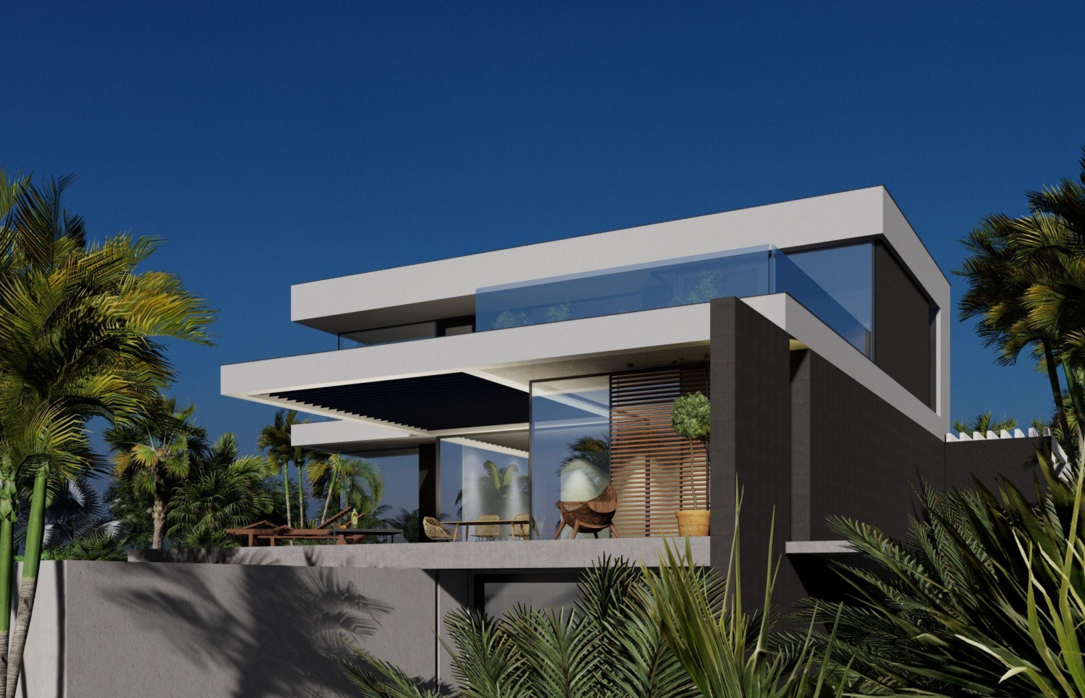 Proyecto de arquitectura del estudio FH2L Arquitectos de una vivienda unifamiliar más pisicna en la URB La Alcaidesa, Málaga.